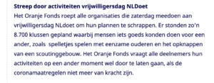 NL Doet 2020 afgelast wegens corona-virus